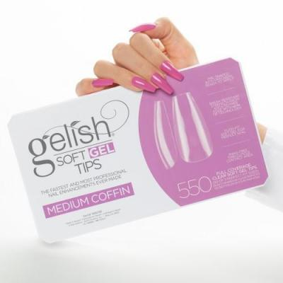 Gelish Soft Gel Tips MEDIUM COFFIN 550 pcs