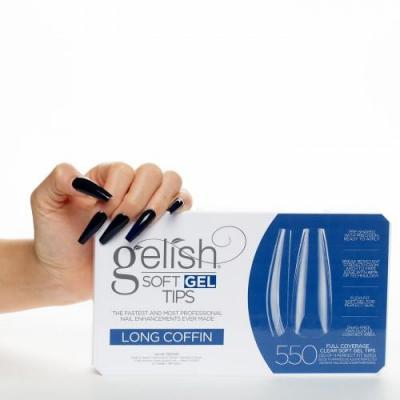 Gelish Soft Gel Tips LONG COFFIN 550 pcs